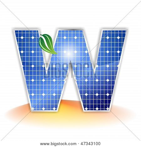 solar panels texture, alphabet capital letter W icon or symbol
