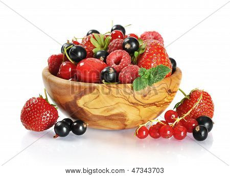 Wooden Bowl With Berries Mix