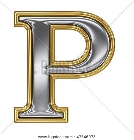 Metal silver and gold alphabet letter symbol - P