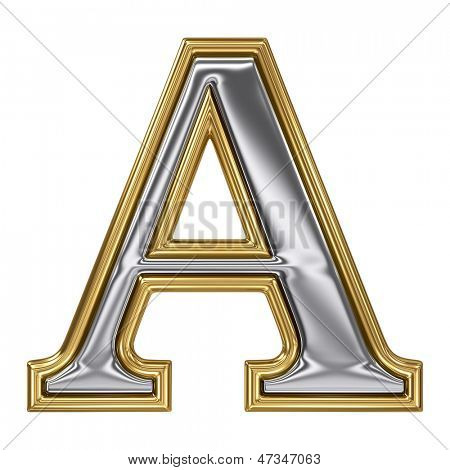Metal silver and gold alphabet letter symbol - A