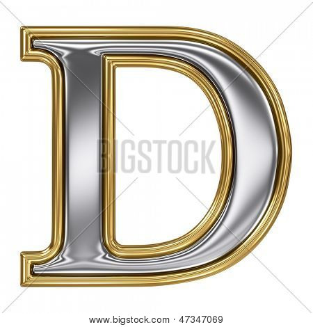 Metal silver and gold alphabet letter symbol - D