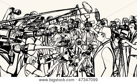 Ilustração em vetor de uma conferência de imprensa