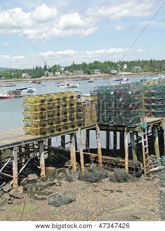 Lobster Traps On Wharf