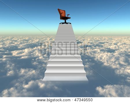 Concept or conceptual 3d chief chair on top of white stair rising above the clouds and sky background