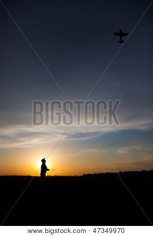 Man Silhouette With Rc Plane