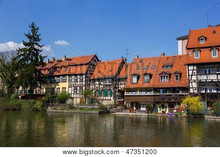 Half-timbered Houses On A Bank Of Stream In Bamberg, Germany.