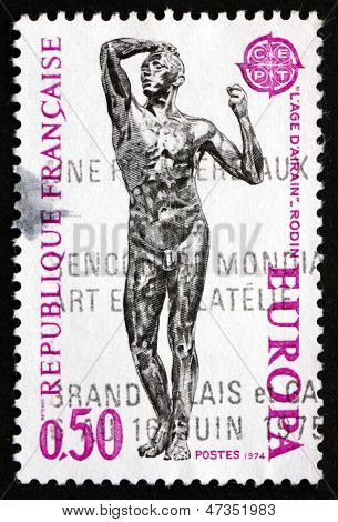 Postage Stamp France 1974 Age Of Bronze, Auguste Rodin