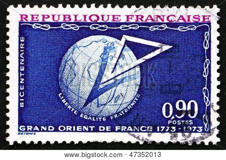 Postage Stamp France 1973 Shows Masonic Lodge Emblem