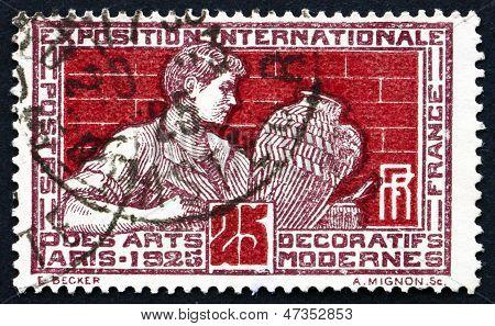 Postage Stamp France 1924 Shows Potter Decorating Vase
