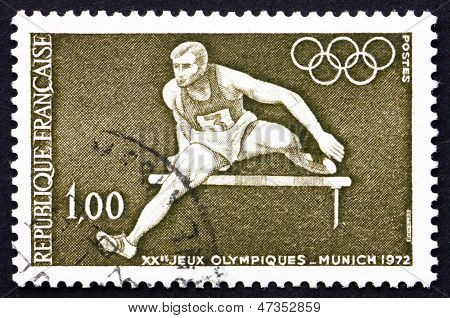 Postage Stamp France 1972 Shows Hurdler And Olympic Rings, 20Th Olympic Games