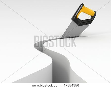 Sawing. Handsaw on white background. Three-dimensional image