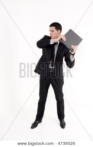 Businessman With Lap Top Computer