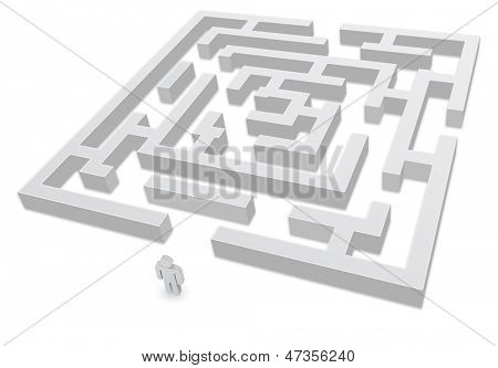 3d labyrinth with person icon