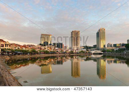Singapore Boat Quay Skyline At Morning