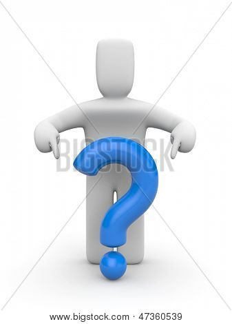 3d person and blue question mark