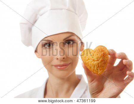 Woman cook holding cake, isolated on white background