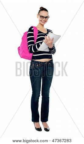 Full Length Portrait Of College Student