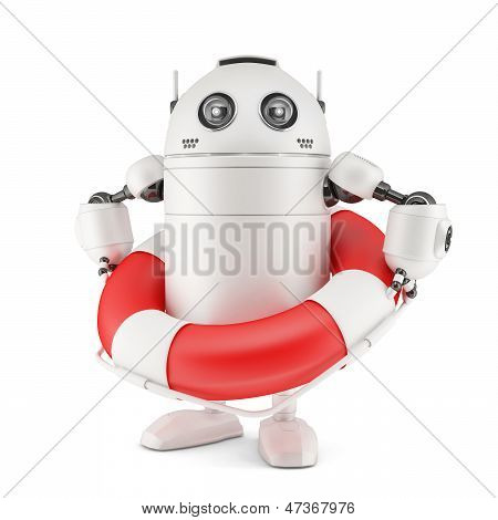 Robot With Life Buoy.