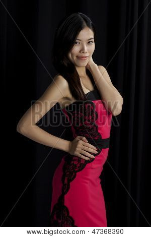 Asian Girl Red Dress