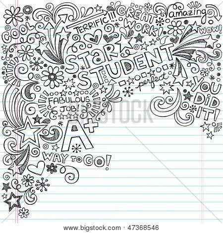Gerade ein Stern Student Scribble Inky Doodles - Back to School Notebook Doodle Design-Elemente auf Lin