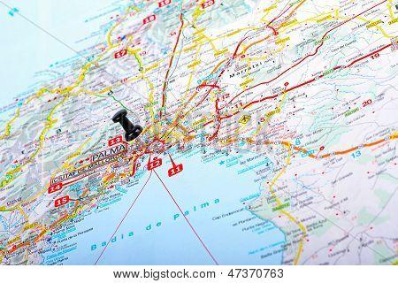 Punto de destino en el mapa - Palma De Mallorca