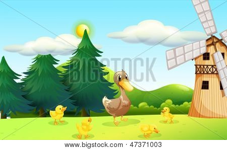 Illustration of a duck and her ducklings near the wooden farmhouse