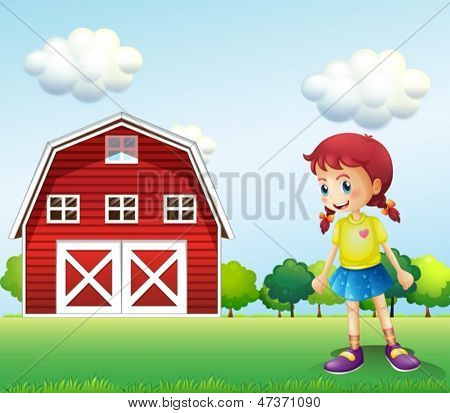 Illustration of a little girl in the barn