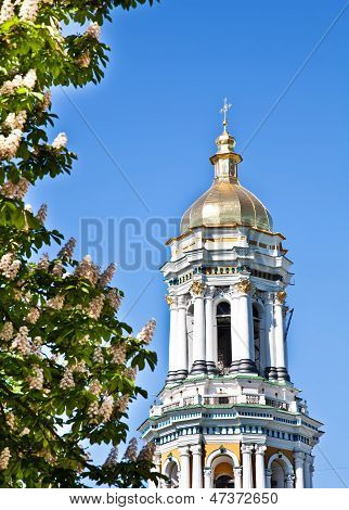 Kiev Pechersk Lavra Monastery In Kiev And Chesnut Blossom