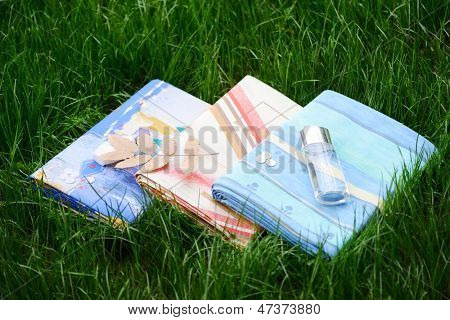 Bedsheet on grass