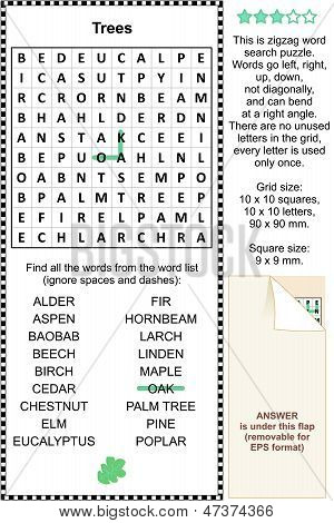 Trees themed wordsearch puzzle