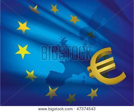 European Union Flag And Euro