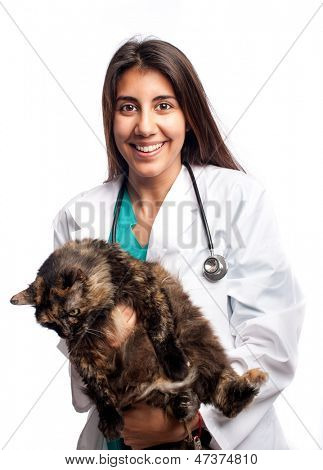 young veterinarian holding a cat isolated on a white background