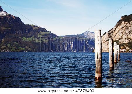 Mooring posts -- Lake Lucerne Switzerland