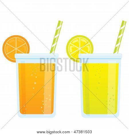 Cooling Cartoon Beverages Cold Refreshing Drinks Of Orange And Lemon Soda Juice
