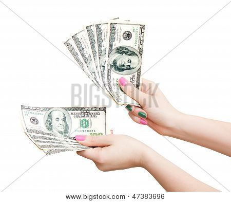 Woman Hands Counting 100 Us Dollar Banknotes, Isolated On White Background