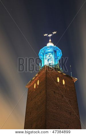 Clock Tower of Stockholm Cityhall Studhus Sweden at Night