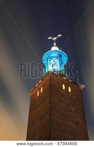 Clock Tower of Stockholm Cityhall Studhus Sweden at Night