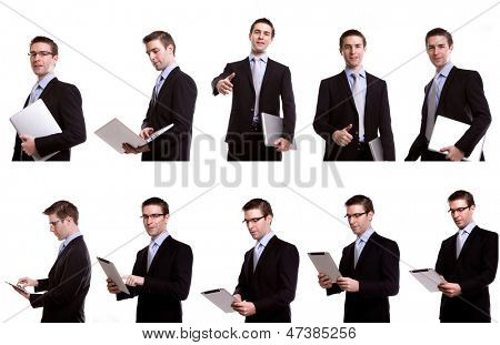 Collection of young business man with laptop and touch screen device against   against white background