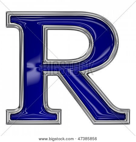Metal silver and blue alphabet letter symbol - R