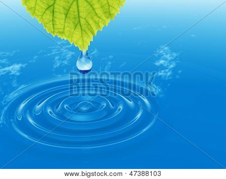 High resolution conceptual water or dew drop falling from a green fresh leaf on a blue clear water making waves