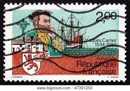 Estampilla Francia 1984 Jacques Cartier, explorador
