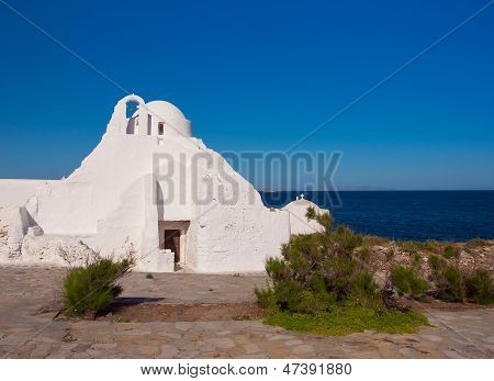 Old Paraportiani 14 Century Church - The Most Famous And Popular Place On The Island Mikoneos In Gre
