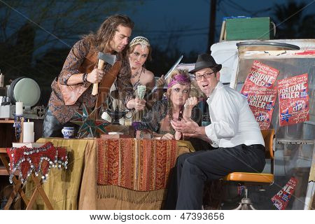 Fortune Teller Threatening Businessman
