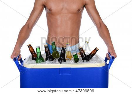 Closeup of a fit young man carrying an ice chest full of beer. Man is shirtless showing torso only. Horizontal format isolated on white.