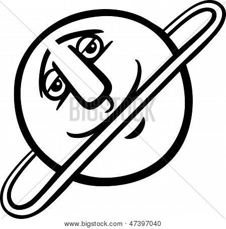 Uranus Planet Cartoon Coloring Page