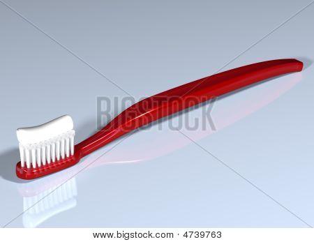 Escova de dentes vermelha brilhante