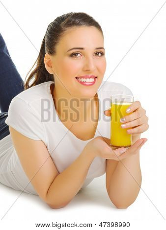 Smiling young girl with orange juice isolated