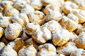 stock photo of cream puff  - Cream Puffs being served at a buffet - JPG