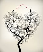 stock photo of freaky  - birds and tree two lovers happy living - JPG