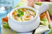 stock photo of noodles  - Chicken noodle soup - JPG